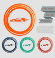 super car icon on the red blue green orange vector image
