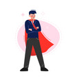 super man in red waving cape standing with folded vector image vector image