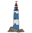 the funny old blue and white lighthouse vector image vector image