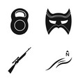 weight mask and other web icon in black style vector image vector image