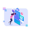 young girl adjusts charts and graphs smartphone vector image