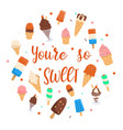 youre so sweet lettering with ice cream design vector image