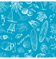 Blue surfing hand draw pattern vector image