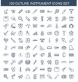 100 instrument icons vector image vector image