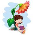 A girl reading a book below the giant flower vector image vector image