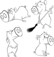 A set of cheerful pigs vector image