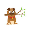 adorable beige pug puppie with branch humor print vector image