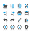 Application toolbar icons reflection vector image vector image