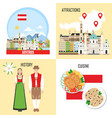 austria background set with austrian sights vector image