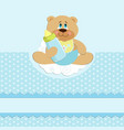 babys greetings card with bear cub and bottle