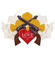 banner on the theme of love and death with pistols vector image vector image