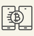 bitcoin transfer line icon crypto coin and vector image vector image