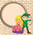 Border design with hunter and princess vector image vector image