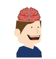brain idea man cartoon design vector image