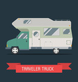 Camping Trailer Family Traveler Truck Flat Style vector image vector image