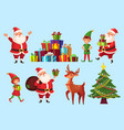 cartoon christmas characters xmas tree with santa vector image