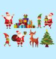 Cartoon christmas characters xmas tree with santa