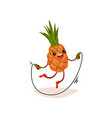 cartoon pineapple exercising with jumping rope vector image vector image