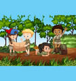 children camping in the forest vector image