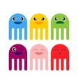 color cute jellyfish smiling icon vector image