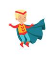 comic cute blond kid in colorful superhero costume vector image vector image