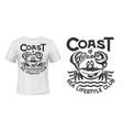 crab t-shirt print mockup sea waves marine club vector image vector image