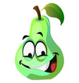 crazy green pear cartoon face on white background vector image vector image