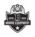 cryptocurrency mining emblem isolated on white vector image vector image