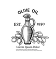 Decorative label with a bottle of oil and olives vector image vector image