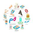 diabetes disease icons set isometric style vector image