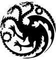 dragon three heads symbol vector image vector image