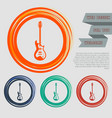electric guitar icon on the red blue green orange vector image vector image