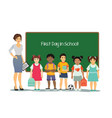female teacher with kids of vector image vector image
