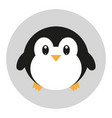 flat icon with penguin in kawaii style vector image vector image