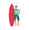 handsome man in sunglasses with surfboard vector image
