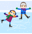 Ice skating little girl and boy vector image