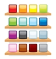Icon on Wood Shelf Display Template Design vector image