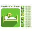 Infected Patient Bed Icon and Medical Longshadow vector image