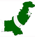 Map of Pakistan with national flag vector image