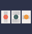minimalistic geometric art wall posters set vector image vector image