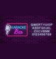 neon signboard of karaoke music bar with alphabet vector image vector image
