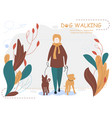 owner and dogs walking cartoon for vector image