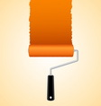 Paint roller brush with orange vector image vector image