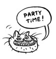party time cartoon cat head vector image vector image
