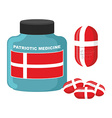 Patriotic medicine in Denmark Pills with Danish vector image