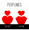 perfumes for him and for her vector image vector image