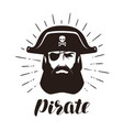 pirate logo or label portrait bearded one-eyed vector image vector image