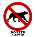 prohibition pet sign with silhouette of panther vector image vector image