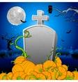 Pumpkin around Tomb Stone vector image