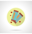 Round flat icon for lovers tickets vector image vector image